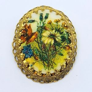 Vintage Sugared Flowers Pin
